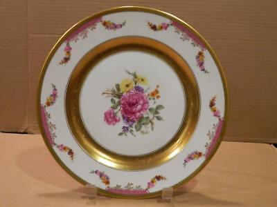 "Rosenthal ""Kings Rose"" Dinner Plate Gold Bands, Flowers White Ground Vintage [d]"