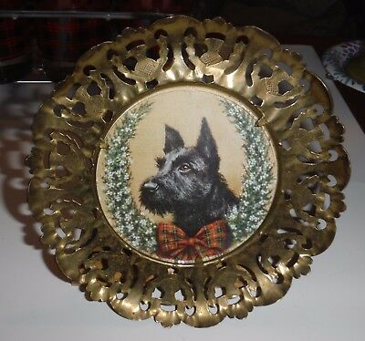 Vintage Christmas Scottie Dog Print in Round Brass w Glass Cover Plate to Hang