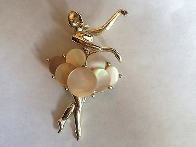 Vintage Mother of Pearl Ballerina Brooch Ballet Pin Ballet Jewelry