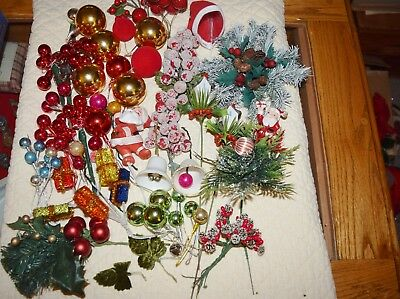 Vintage Lot Christmas Corsage Craft Items Mercury Glass Picks Packages Berry Hat