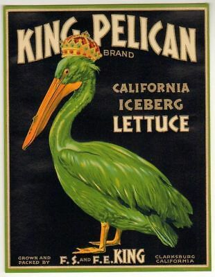 KING PELICAN Vintage California Lettuce Crate Label, *AN ORIGINAL VEGGIE LABEL*