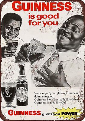 """1968 Guinness Stout Beer Vintage Retro Metal Sign 7"""" x 10"""""""