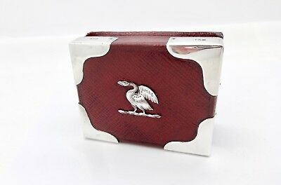 Antique Asprey London Gents Sterling Silver Eagle Crest Leather Bound Match Box