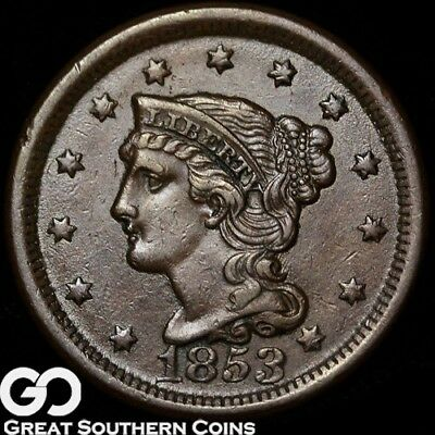 1853 Large Cent, Braided Hair, Choice AU+
