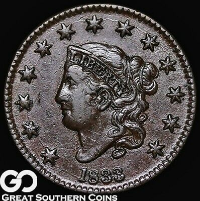 1833 Large Cent, Coronet Head, Very Nice Choice Uncirculated Early Copper!