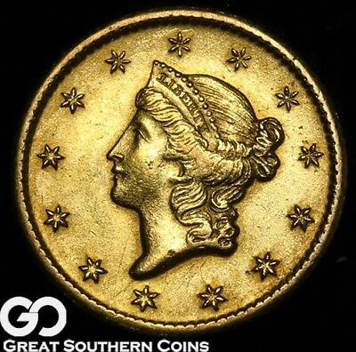 1849-O Gold Dollar, $1 Gold Liberty, Lustrous Better Date Orleans Gold!