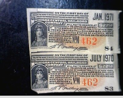 2 RAILROAD Bond Notes from Michigan Central RR, pair of 2 pcs LOT #Q  NO RESERVE