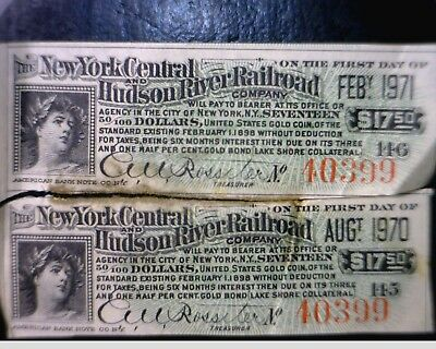 1898 New York Central & Hudson River Railroad Bond Notes 2 pc LOT #1 NO RESERVE
