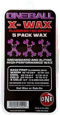 One Ball Jay X-Wax 5 Pack Assorted Ski/Snowboard Wax, 225g