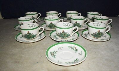 Nice! Set Of 11 Spode Christmas Tree Pattern Teacups & Saucers W/extra Saucer