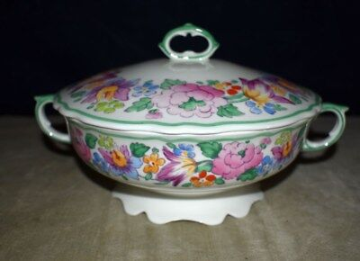 Rare Crown Staffordshire #15227 Covered Vegetable Bowl W/handles – Springtime