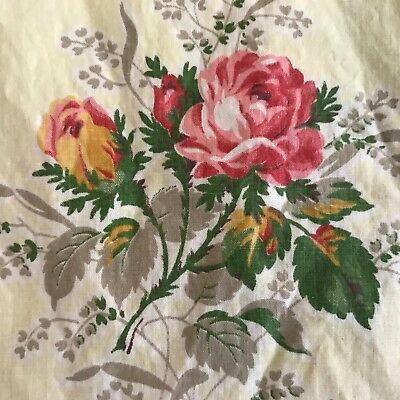 Vintage 1940's-1950's Cottage Floral  Yellow ROSE Cotton Fabric 3 yds