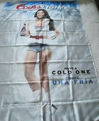 """Large 36"""" x 57"""" Coors Light Beer Silky Flag Banner Have a Cold One Bar Decor"""