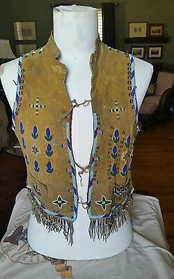 "Crow, Native American Indian,19th Century Beaded Vest ""RARE"""