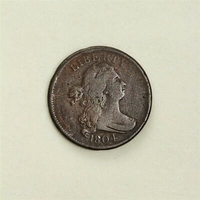 1804 U.S. Mint Draped Bust Half Cent, Crosslet 4, No Stems, in F+ Condition