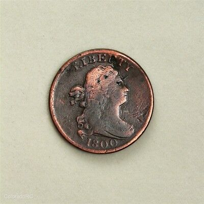 1800 U.S. Mint Draped Bust Half Cent with VG Details