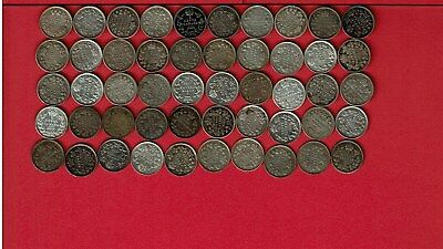 Canada 5 Cents Silver Edward Vii Lot Of Fifty (50) Coins 1902-1910