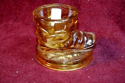 Unique Amber Boot Toothpick Holder - Near Mint - Wide Base - Unsigned