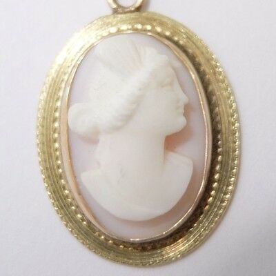 Antique Edwardian 10K Gold Carved Shell Cameo Pendant