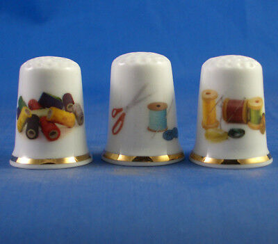 Fine Porcelain China Thimbles - Set Of Three Sewing Cotton Thread