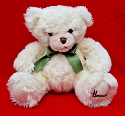 Harrods Teddy Bear:   Beautiful, Clean Condition!    Green Bow - Undated