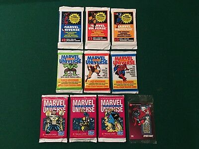 1990 1991 1992 MARVEL UNIVERSE (10) SEALED CARD PACKS w/ PROMO PROTOTYPE