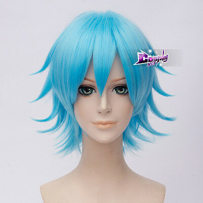 Rick And Morty 12'' Short Sky Blue Rick Anime Cosplay Heat Resistant Wig + Cap