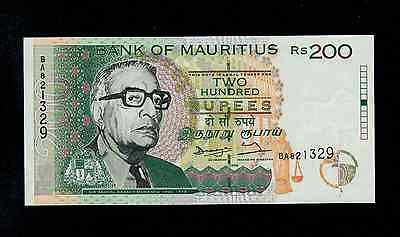 Mauritius  200  Rupees  1998  Ba  Pick # 45 Unc Banknote.