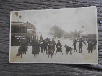 1910 Snowballing in Cooma street snow ball fight postcard horse rider NSW