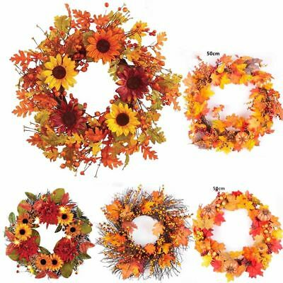 50cm Berry Maple Leaf Fall Door Wreath Door Wall Ornament Thanksgiving Day Decor
