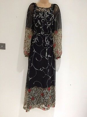 Vintage 70s Black & Grey Floral Leaf Belted Boho Festival Maxi Dress Size 12