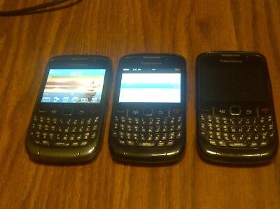 Lot Of 3 Cincinnati Bell Blackberry Curve (1) 9300 / (2) 8520 Smartphone Sim Lot