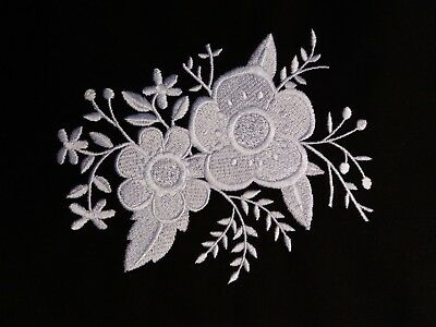 Embroidered Block /Cushion Panel `Whitework Floral Bouquet` 100% cotton fabric