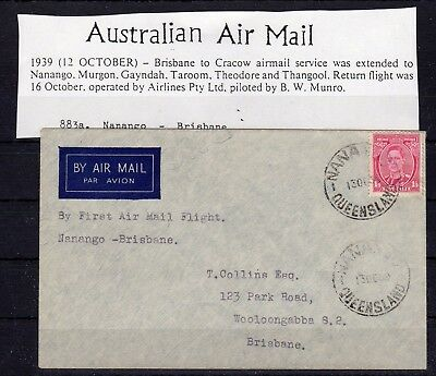 AUSTRALIA , 1939 , nice early FIRST FLIGHT airmail cover , LOOK !