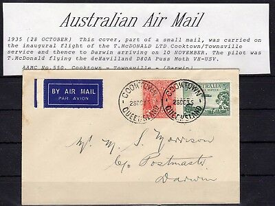AUSTRALIA , 1935 , very nice early FIRST FLIGHT airmail cover , LOOK !