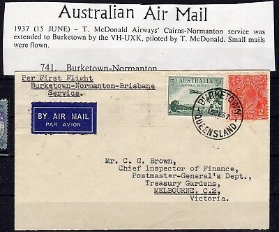 AUSTRALIA , 1937 , very nice early FIRST FLIGHT airmail cover , LOOK !