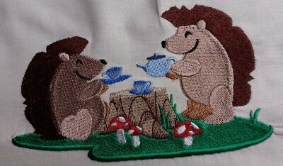 Embroidered Block /Cushion Panel `Woodland Hedgehogs` 100% cotton fabric