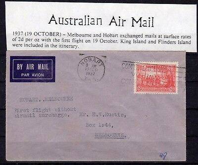 AUSTRALIA , 1937 ,  nice early FIRST FLIGHT airmail cover , HOBARTH - MELBOURNE