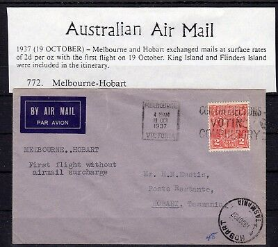 AUSTRALIA , 1937 ,  nice early FIRST FLIGHT airmail cover , MELBOURNE - HOBARTH