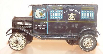 TT02 - Wells 'o' London Tin Clockwork - pre war - Police Van. 17cm long
