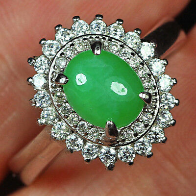 23.1CT 925 Sterling Silver 100% Natural Grade A Green Jadeite Ring CYRW5