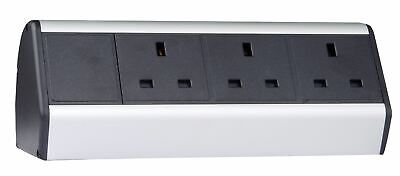Desktop Table Mounted Power Extension w/ 3 x UK Sockets, 2 meter IEC power cable