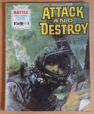 """BATTLE Picture Library # 492 """"Attack and Destroy"""", September 1970 war comic."""