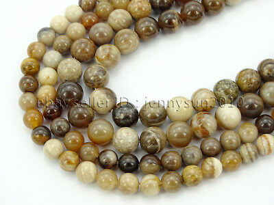 Natural Wood Opalite Jasper Gemstone Round Spacer Beads 16'' 4mm 6mm 8mm 10mm