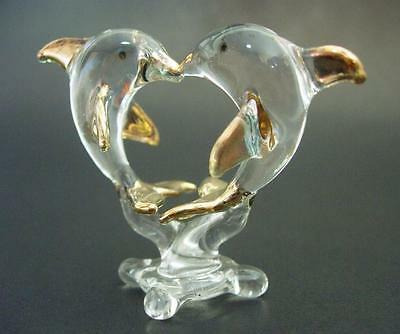 Kissing Glass DOLPHIN Ornament Clear Glass Gold Painted Figures Animal Ornament