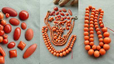 RS56 珊瑚项链 antique natural coral jewelry Koralle Schmuck Konvolut Handarbeit