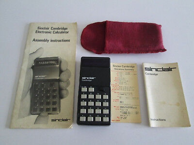 Vintage Sinclair Cambridge Electronic Calculator Working Instructions Pouch