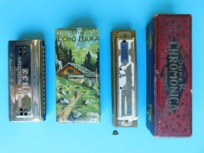 2 Hohner Boxed Harmonicas Small ECHO & Larry Adler Super Chromonica Mouth Organs