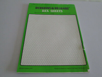 Vintage Dungeons & Dragons Pad Of 24 Hex Sheets Gwdhs Games Workshop 1978