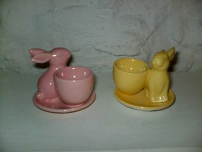 Gisella  Graham London  Two Rabbit Eggcups  1 Pink  + 1 Yellow